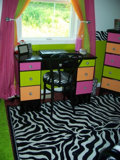 Zebra, Hot pink, Lime green, Orange, Bedroom, Teen girls zebra bedroom, bought the desk and chair on Craigs list for $35. Painted it black and painted the drawer fronts Pink, Green and Orange. Re-covered the seat w/ Zebra print material  , Girls' Rooms Design