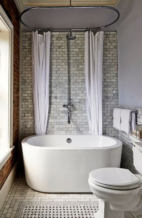 Transitional 3/4 Bathroom with Side-mount shower curtain rod, complex marble tile floors, Freestanding, ceramic tile floors