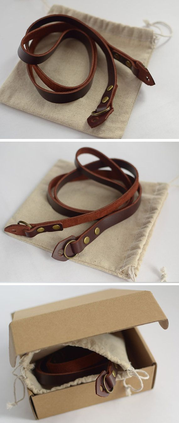 Vintage camera strap handmade for DC Dark Brown Leather cowhide Strap