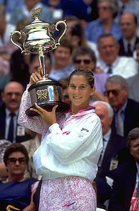 Monica Seles - never seen someone time the ball off the ground in the ladies game. She sort of lost it when she was tragically stabbed on court. She could have won several more slams