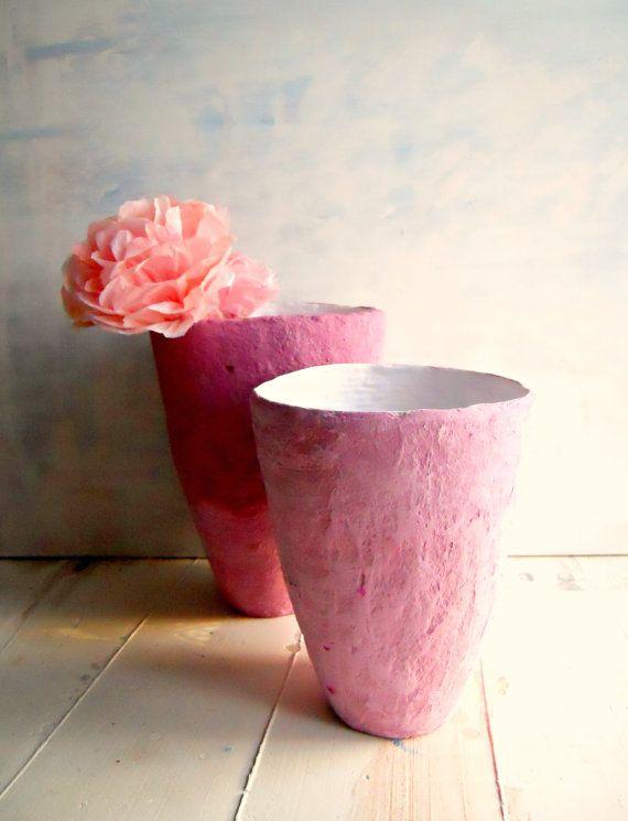 Pan di Lamponi Set Vasi di carta  mache' di Djaliforyou su Etsy