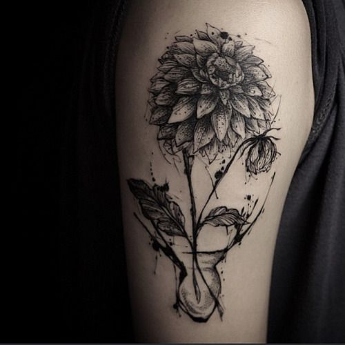 dahlia in a vase dahliaflower tattoo shared by tattoos pinterest vase blog and. Black Bedroom Furniture Sets. Home Design Ideas