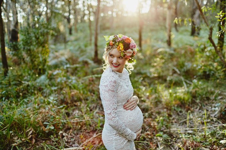 What an experience being pregnant.  White lace maternity dress.  Ben Adams Photography