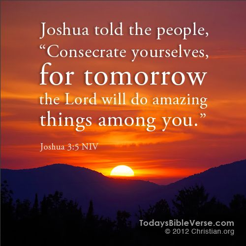 """Joshua told the people, """"Consecrate yourselves, for tomorrow the Lord will do amazing things among you."""" - Joshua 3:5    From TodaysBibleVerse.com"""