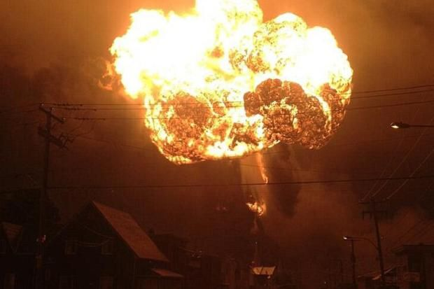 A fireball erupted above Lac Megantic after the freight train exploded