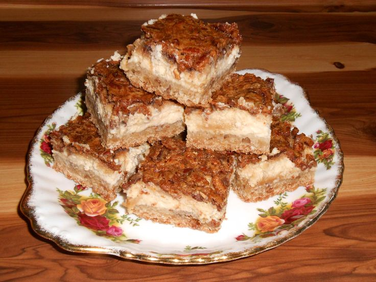 I made these Pecan Cheesecake Bars yesterday and they are A-MAZING. So good that I had to pin my own pic of 'em!