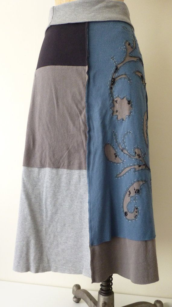 upcycled denim skirts | Repurposed Upcycled OOAK Tshirt jersey skirt by beadopathyetc, $72.00 ...