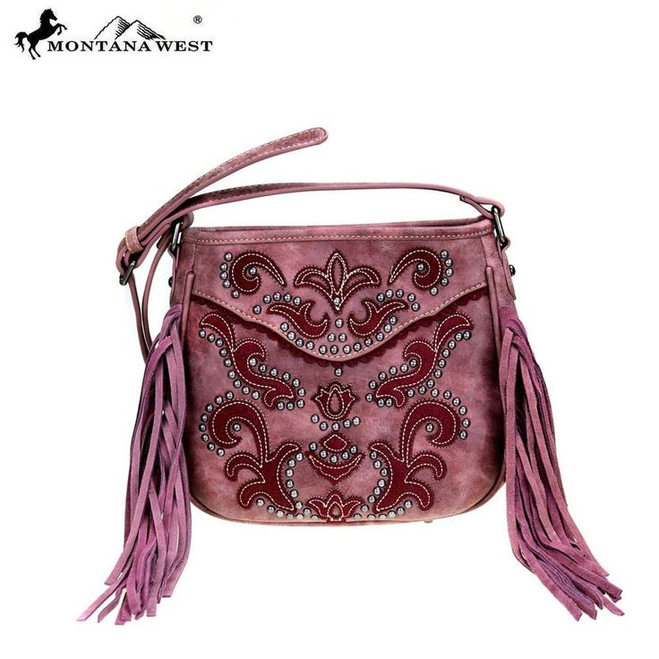 Montana West Fringe Handbag Messenger Crossbody Burgundy #MontanaWest #MessengerCrossBody