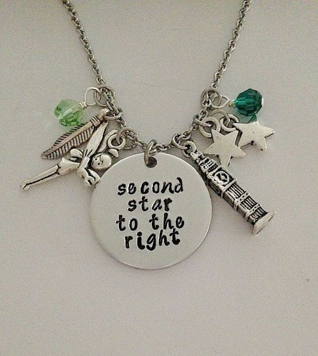 "Disney inspired Peter Pan necklace ""second star to the right"" Tinkerbell Neverland hand stamped swarovski crystals charms"