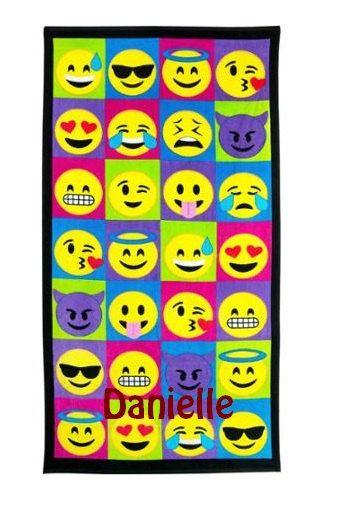 "Large EMOJI  emojicon  Beach towel Personalized or Monogrammed 30"" x 60"" Personalized Beach Towel"