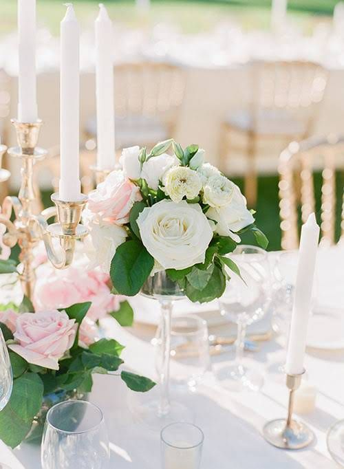 Romantic Multi-Day French Chateau Wedding, White Floral Centerpieces