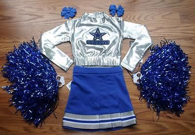 DALLAS COWBOYS CHEERLEADER COSTUME OUTFIT CHEER SET DELUXE POM POMS BOW 2-3T