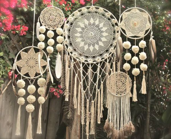 Crochet dream catchers for a bohemian theme wedding.