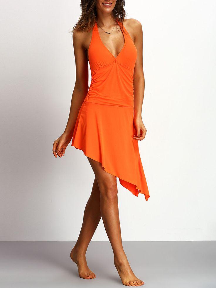¡Cómpralo ya!. Halter Assymetrical Orange Multiway One-piece Swimwear. Orange One Pieces & Monokinis Basic Halter Top Polyester Swimwear. , bañador, bañadores, swimsuit, monokini, maillot, onepiece, one-piece, bathingsuit. Bañador  de mujer color naranja oscuro de SheIn.