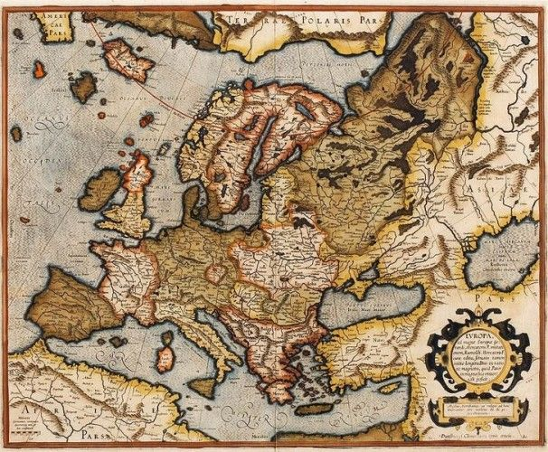 16th century map of Euorpe