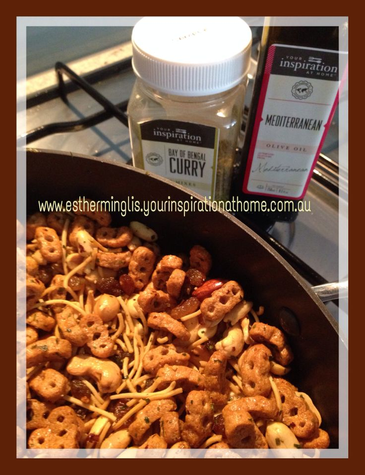 Nuts & Bolts - one of my family's favorite nibblies - using YIAH Mediterranean Olive Oil & Bay of Bengal Herb Dip Mix with no preservatives, no msg, no added gluten. Smells and tastes fabulous! www.estherminglis.yourinspirationathome.com.au