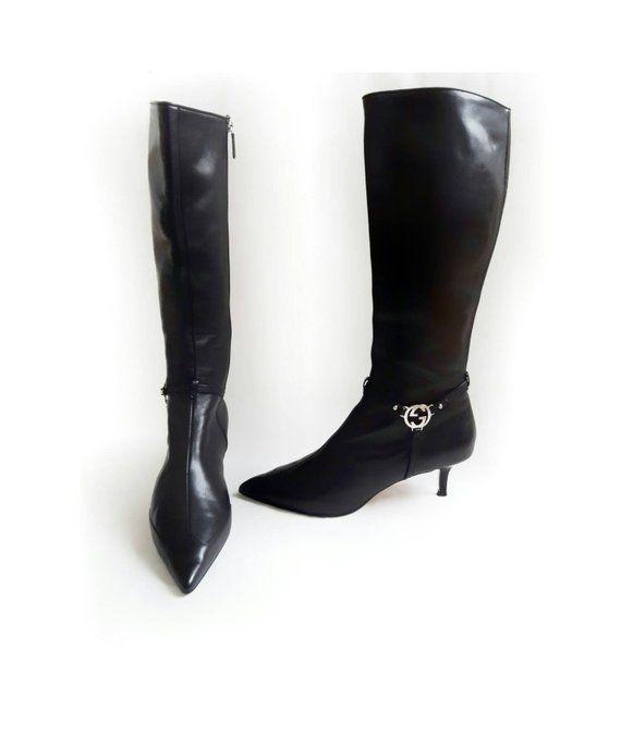 Gucci Black Lifford Kitten Heel G Signature Leather Boots Heels Kitten Heels Gucci Black