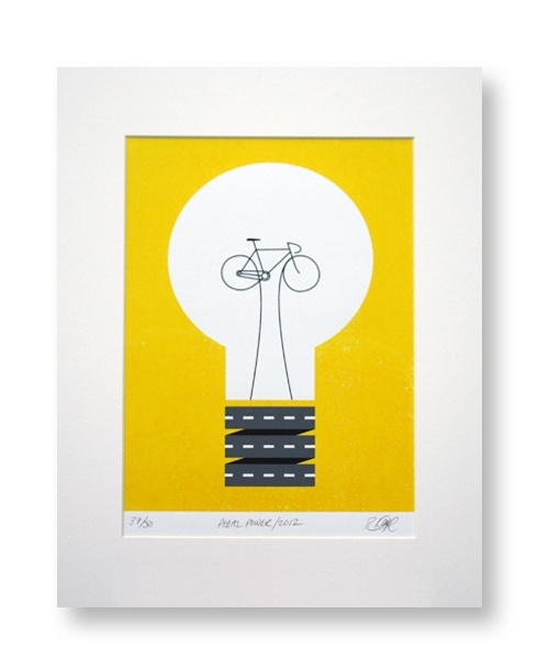 Rebecca J Kaye Pedal Power limited edition cycling art print
