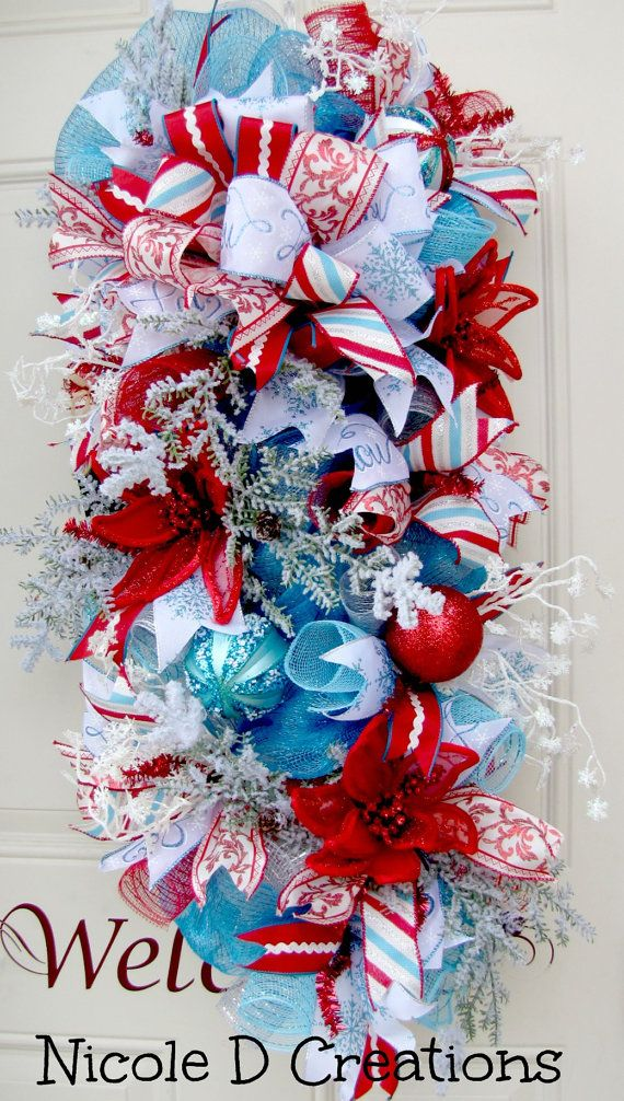 Blue White And Red Swag Poinsettia Wreath Snow Ice