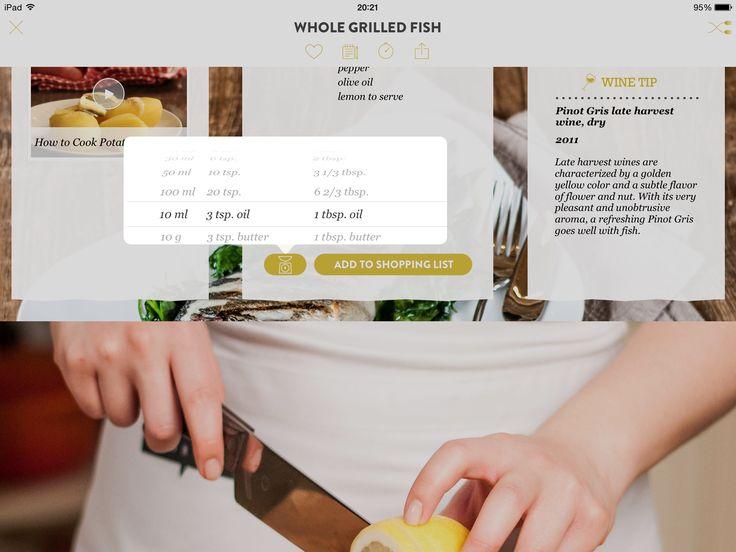 Kitchen stories, measurements, selection, iPad