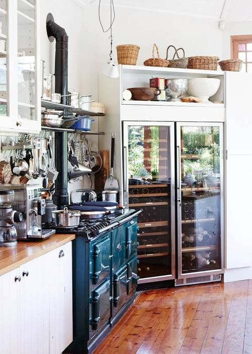 Love the AGA stove and commercial refrigerator ~