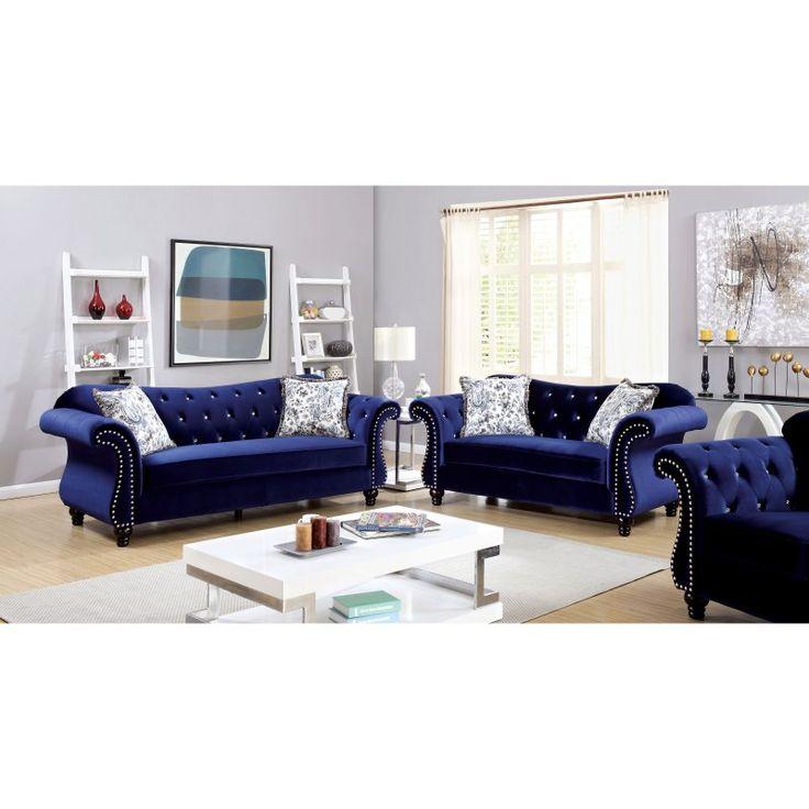 Furniture of America Ileyna 3 Piece Sofa Set Blue - IDF-6159BL-3PC