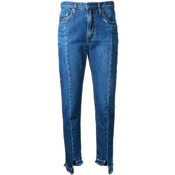 Nobody Denim Issy Jean Unravelled ($240) via Polyvore featuring blue, nobody denim, slim jeans, slim blue jeans, tapered leg jeans and vintage jeans