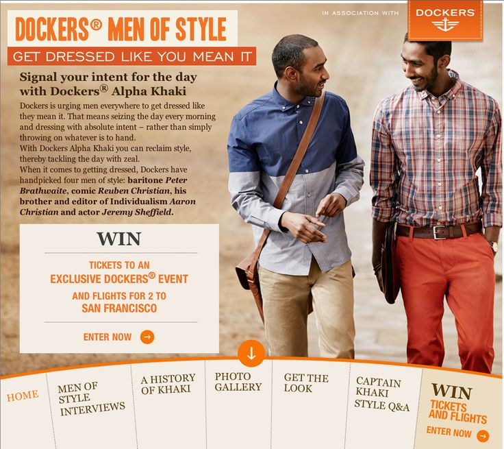 The Dockers microsite featured the history of Khaki in a parallax scrolling infographic and interview content with the Men Of Style.