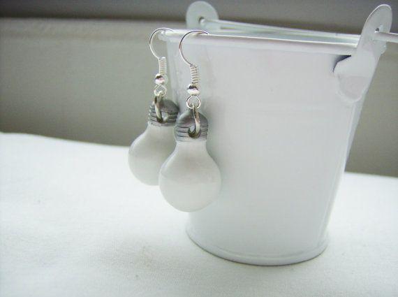 White light bulb plastic earrings  light bulb by SparkleandComfort