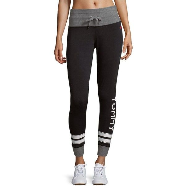 Tommy Hilfiger Sport Women's Mid-Rise Leggings - Size l ($25) ❤ liked on Polyvore featuring pants, leggings, no color, sports leggings, sport pants, legging pants, sports pants and mid rise pants