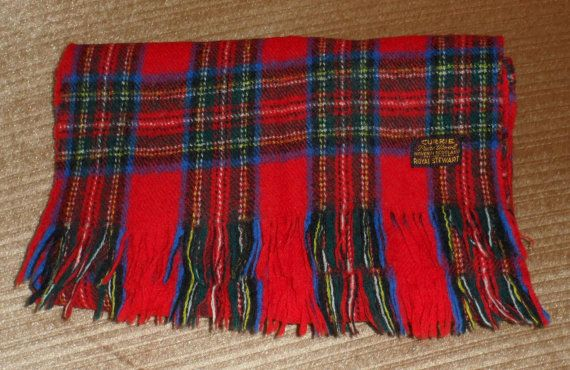 ****THIS SCARF IS S O L D ....****ROYAL STEWART TARTAN Scarf/Made of Pure Scottish Wool by BYGONERA