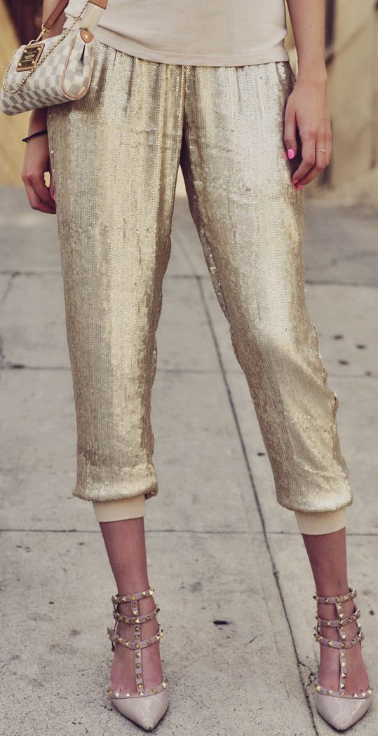 I love these understated gold sequin harem pants from Gold Hawk. (Picture from Carly Cristman: http://carlycristman.com/my-style-diary-sequin-harem-pants/)