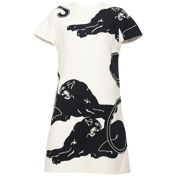 Valentino Panther Print Dress ($4,980) ❤ liked on Polyvore featuring dresses, kirna zabete, kzloves /, shop beth's closet, mixed print dress, a line dress, white short sleeve dress, round neck dress and white dresses