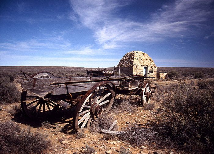 The corbelled houses of the Karoo form an important part of the history of the region. This one at Lanklaasleegte outside Williston has wagons similar to those that would have transported pioneers to the area.