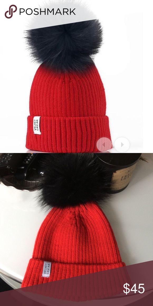 Velvet Caviar red hat with black plush Velvet Caviar red hat with black plush New Velvet Caviar Accessories Hats