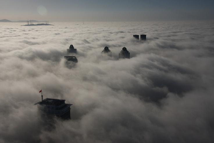 Istanbul Skyline under fog, taken from Sapphire