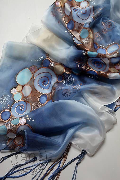 B r o n z e - blue / LGhodvab - SAShE.sk - Handmade Šály