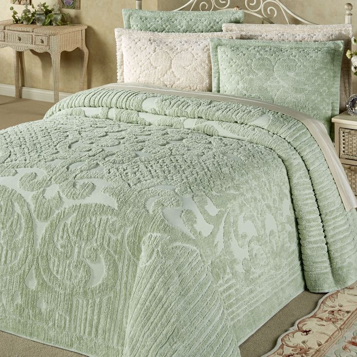 Ashton Chenille Bedspread Ashton Chenille Bedspread Ashton Chenille Bedspread Ashton Chenille Bedspread Overview Details Sizes Swatch Shipping Reviews The 100% cotton chenille Ashton Bedding will make your bedroom cozy and warm with its pleasing colors and pattern. Chenille Bedspread is a solid color with tufted scrolls, lines, and dots. Chenille bedding comes in your choice of five pleasing colors. Machine wash separately. Imported. • Choose Natural, Light Blue, Pale Green, Pink, or White…