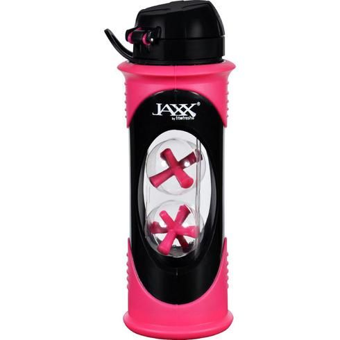 This 20 ounce Jaxx shaker is made from super durable glass and features a stylish, removable protective sleeve. The lid pops open to reveal easy pour spout. Convenient carry handle allows for the bott