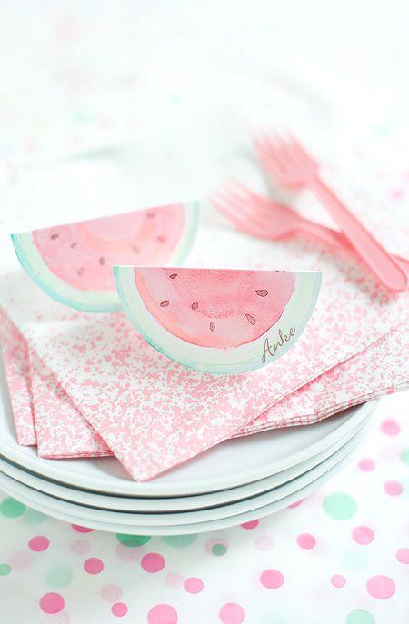 melonen platz- oder einladungskärtchen wunderschön-gemacht: wasser(melonen)farben