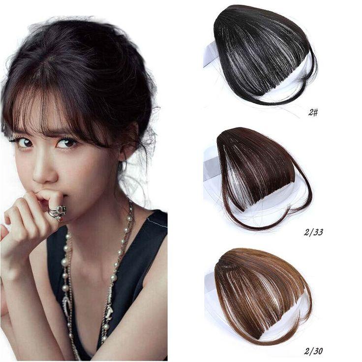 MUMUPI Pretty Girls Clip on Clip In Front Hair Bang Fringe Hair Extension Piece Thin Hair Air Bangs