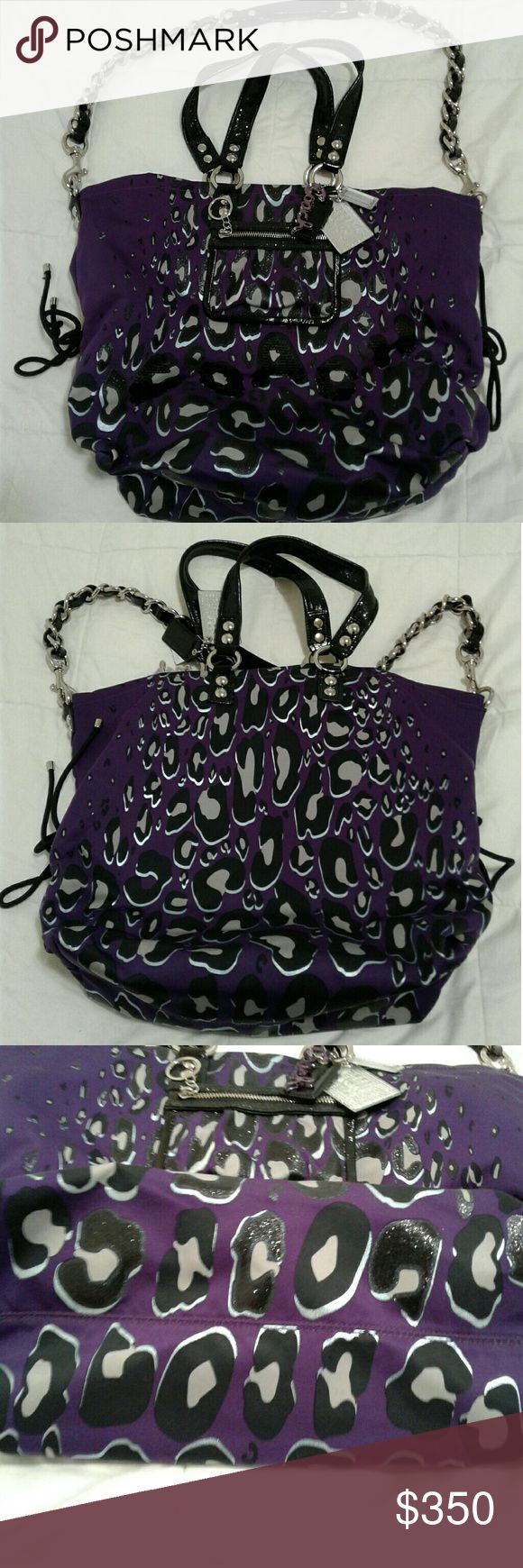 """Coach Poppy Ocelot Sequin XL Spotlight Hard to find. Coach Poppy Ocelot Sequin XL Spotlight. Sequin top handles, 9"""" drop. Detachable longer strap for crossbody wear, 19"""" drop, with chain and patent leather. Coach Bags Totes"""