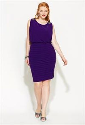 cheap plus size clothing - Avenue Plus Size Blouson Drape Back Dress - purple