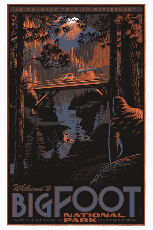 Laurent Durieux: Movie Posters, Big Foot, Posters Design, Bigfoot National, Art, Illustration, Laurent Durieux, National Parks, Vintage Travel Posters