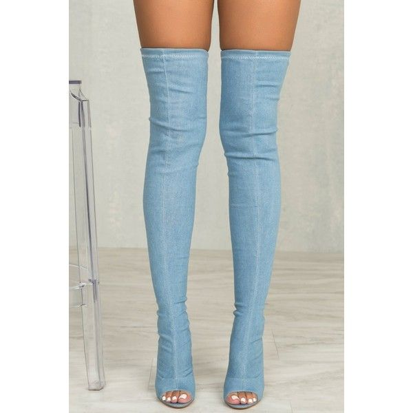Kate Thigh High Stretch Boot (Denim) ($88) ❤ liked on Polyvore featuring shoes, boots, peep-toe boots, over knee boots, peep toe boots, synthetic boots and thigh high boots