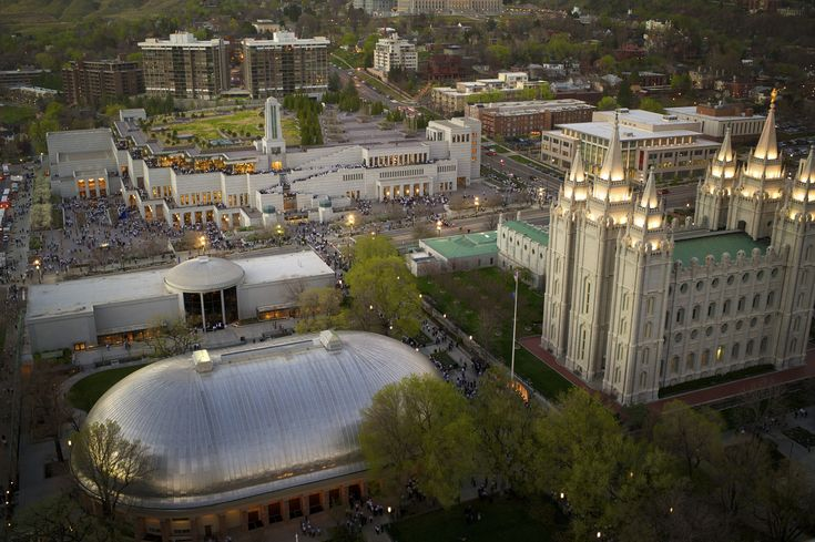 aerial view of Temple Square and LDS Conference Center