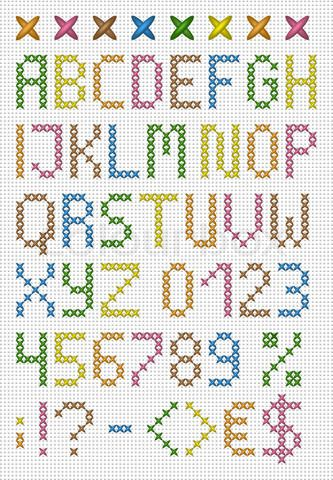 Grafiken von 'Colorful cross stitch uppercase english alphabet'