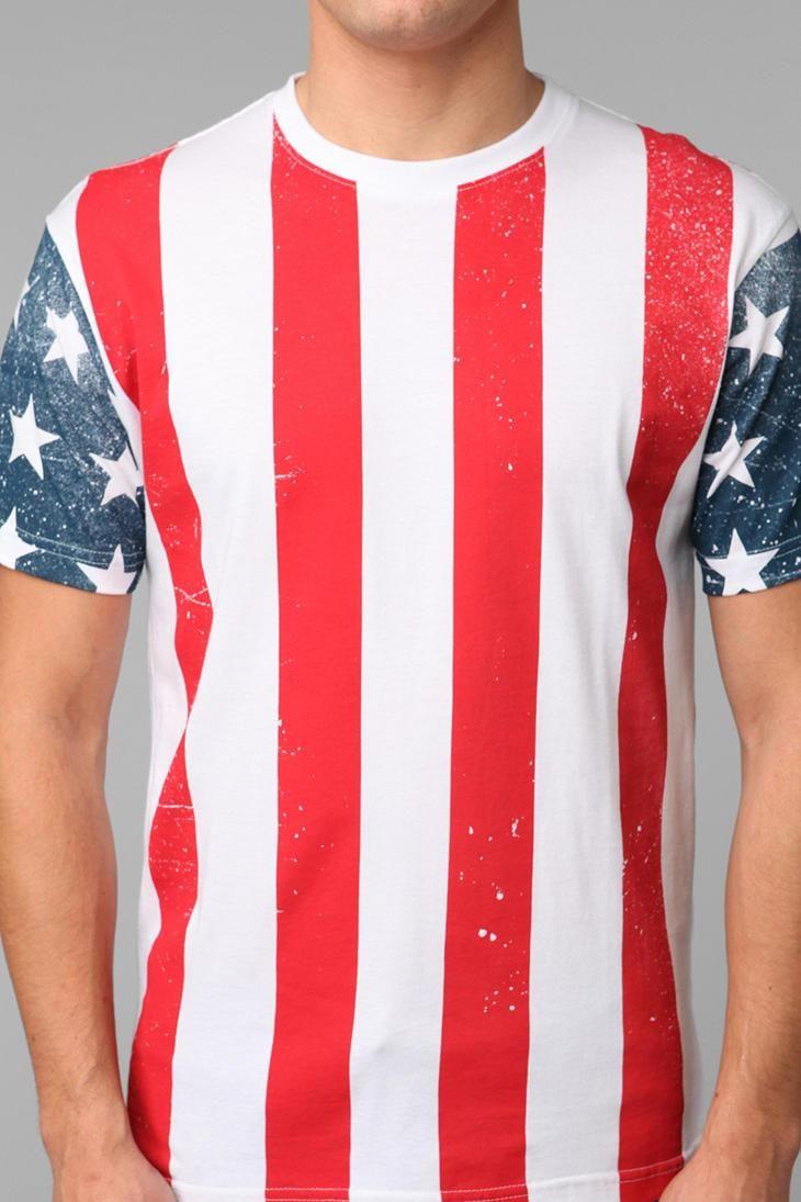 American Rag Mens Flag Graphic T-Shirt