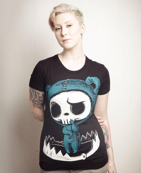 beartrap tshirt, blue bear shirt, bear skull shirt