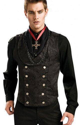 black vampire graver vest brocade mens twilight halloween costume accessory men ebay - Male Costumes Halloween